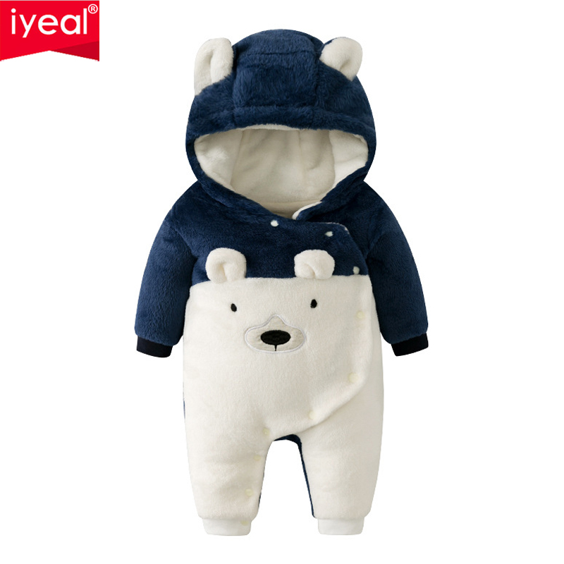 IYEAL New Arrival Winter Baby Boy Girl Clothes Bear Hooded Romper Cute Toddler Infant Warm Outwear Quality Flannel Kids Clothing iyeal 2017 winter thick warm newborn baby clothes kids boy cotton long sleeve cute print romper toddler infant overalls 0 12m