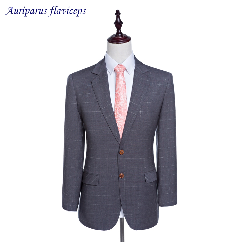 2018 Gray Jacket Groom Tuxedos Damier Check Blazer 2 Buttons Jacket As Men Clothes Custom Made Suit Jacket1 Piece