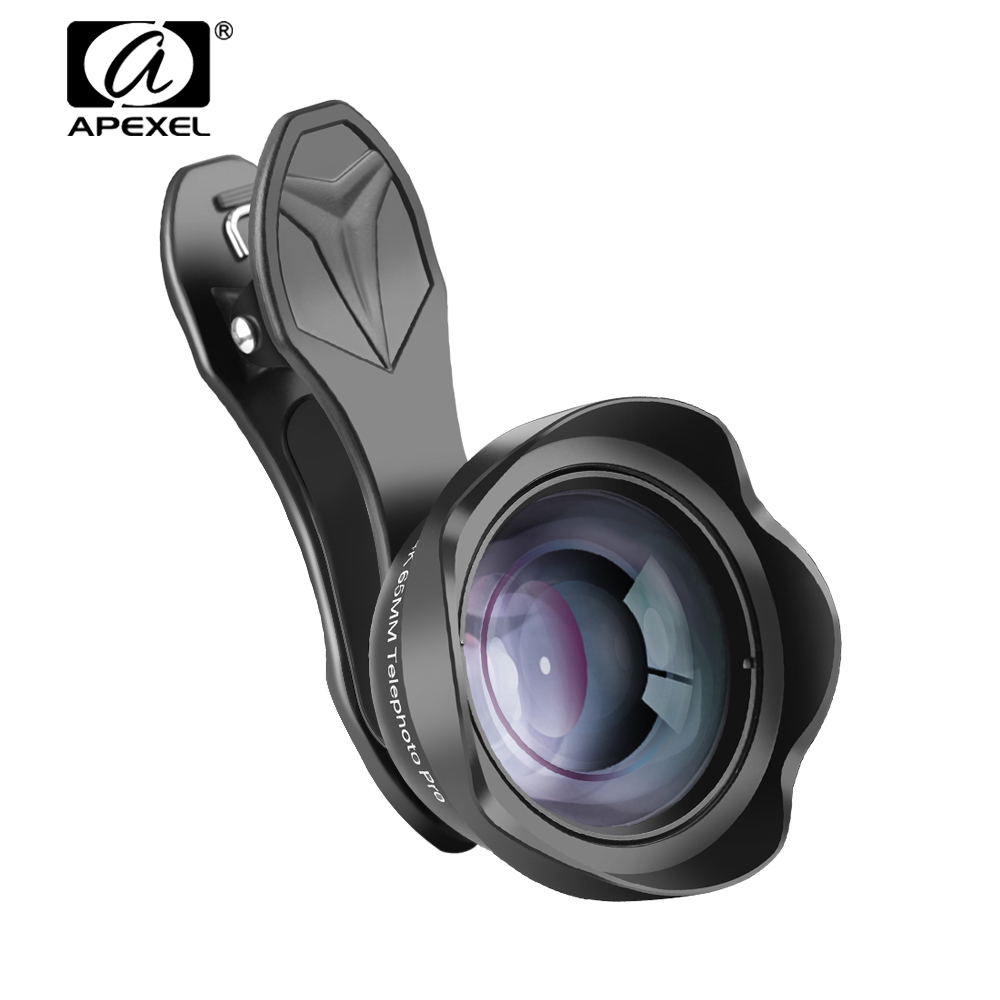 APEXEL 65mm Large-angle Téléphone Lentille Télescope Zoom Portrait Lentille avec Clip Universel pour iPhone 6 6 s 7 8 X & Samsung Galaxy S Série
