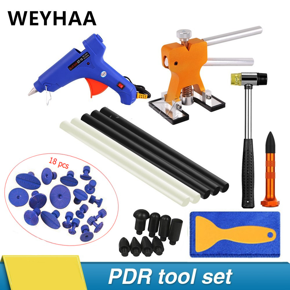 PDR Tools Paintless Dent Repair Removal Tools Kits Dent Lifter Puller Tabs PDR Glue Tabs Glue Gun Hot Melt Glue Sticks hand tool-in Sheet Metal Tools Set from Automobiles & Motorcycles    1