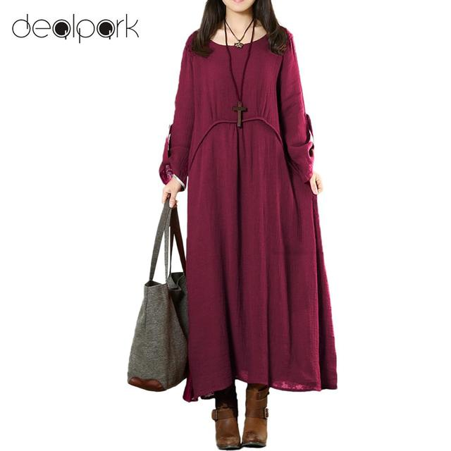 Autumn Vintage Women Dresses Plus Size Loose Long Dress Solid Roll Up 3 4  Sleeves O-Neck Casual Maxi Dresses Dark Blue Burgundy b64db201d639