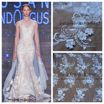 Off whtie sparkling sequins handmade 3D flowers beading on netting embroidery wedding dress lace fabric by yard