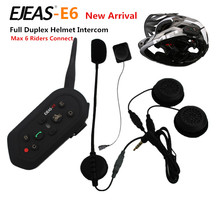 1PCS E6 Wireless Full Duplex Helmet Intercom BT Interphone 1200M Motorcycle Bluetooth Helmets Headset font b