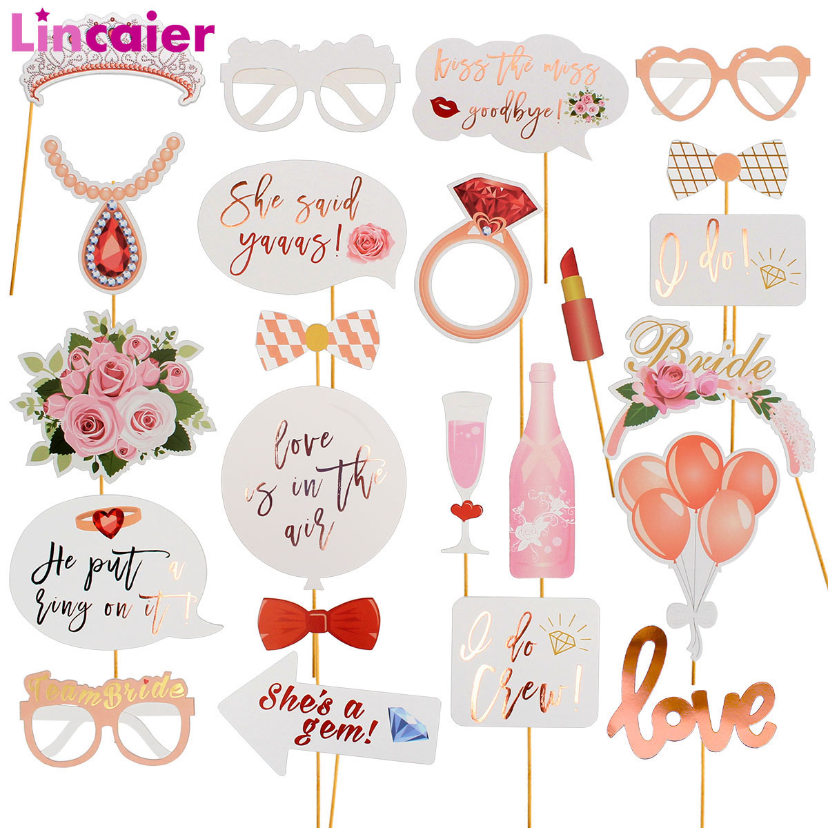 Lincaier Wedding Photo Booth Props Just Married Photobooth