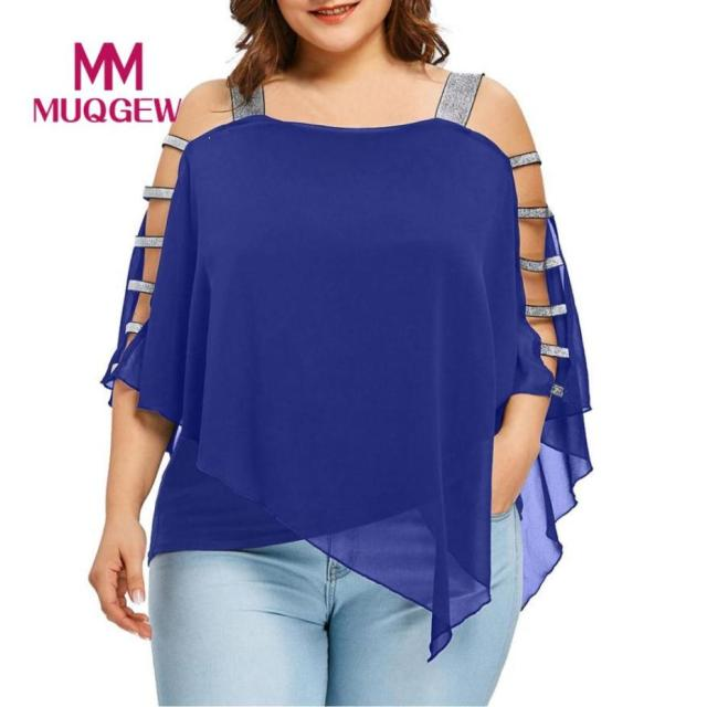 Plus Size Summer Women Off-the-shoulder irregular Tee top T-Shirt Sexy For Women Chiffon Fashion Hollow Out Cut Out Tops Blusas