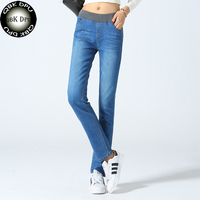 Goedkope blauw stretch potlood jeans 2018 Lage prijs Hot selling fashion casual vintage skinny jeans plus size rechte jeans vrouwen