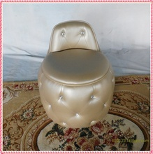 champagne dressing &make up stool drilling sofa ottoman empire art  gold PU leather sofa stools hot selling