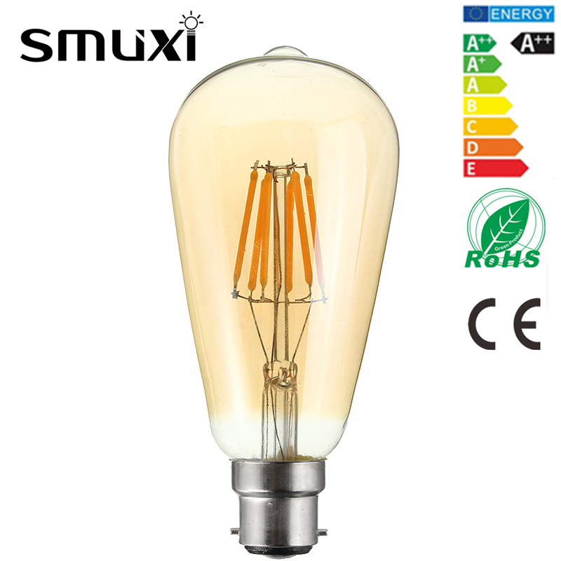 Smuxi Dimmable 6W LED Light Bulb Vintage Edison Bulb B22 Squirrel Cage Lamp DIY Decor Lighting Pendant Lamp Warm White AC220V