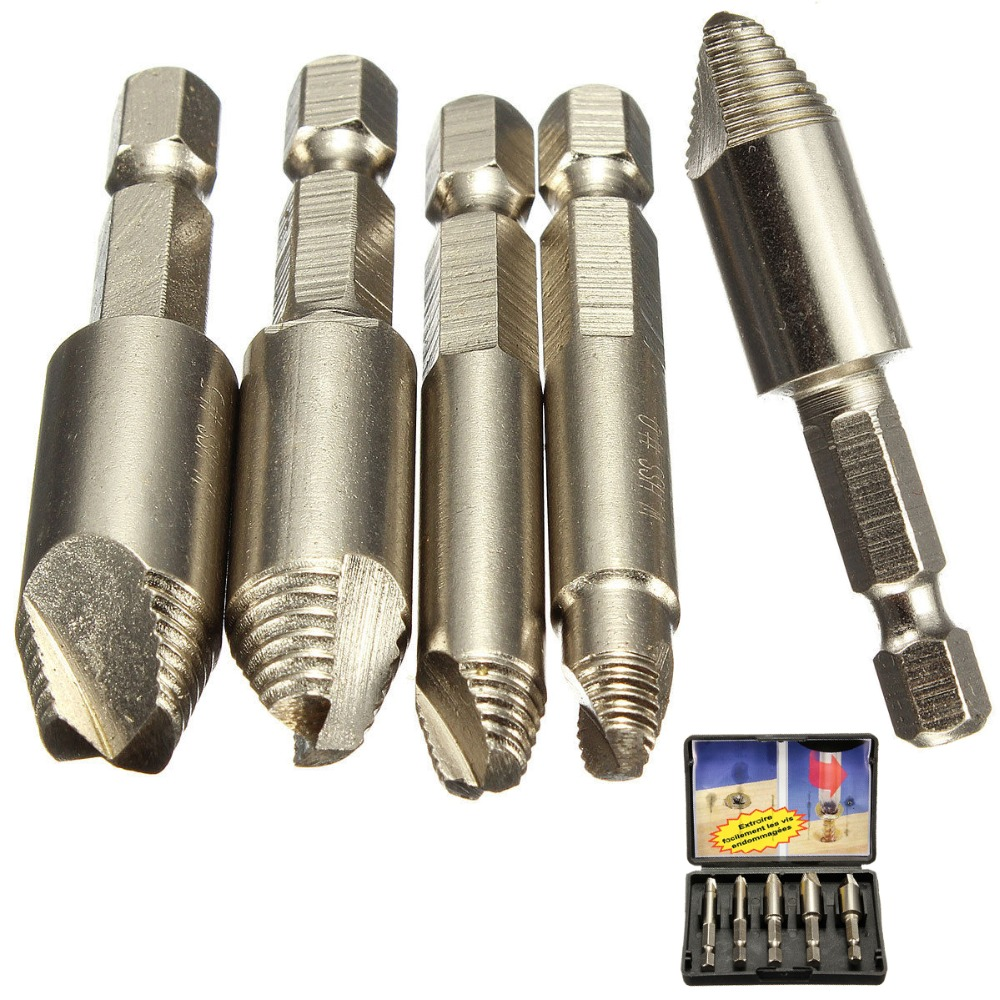 5Pcs/set Screw Extractor Stud Bolt Clamp Woodworker tools Easy Remover Drill Bit Set with Case 1/4 Hex Shank Drill Bit Extractor 5pcs durable screw extractor set high quality steel stud remover tool kit with box 3 18mm for hand tools