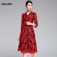 XXXXL Dresses Vestidos 2019 Spring Summer Fashion Party Events Women V Neck Tulle Mesh Embroidery 3/4 Sleeve Mid Calf Dress 50s