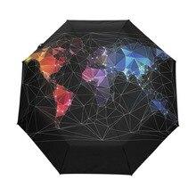 5bc123035 Design único World Map Umbrella Originalidade Personalidade Artística  Proteção UV Sol Guarda-chuva Automático com Slip-Prova de .