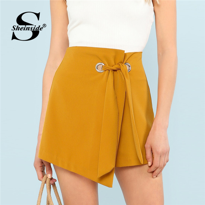 Sheinside O-Ring Knot Asymmetrical Hem Wrap Skorts Skirts Women 2019 Summer Casual Solid Mid Waist   Shorts   Ladies Zip Back   Shorts