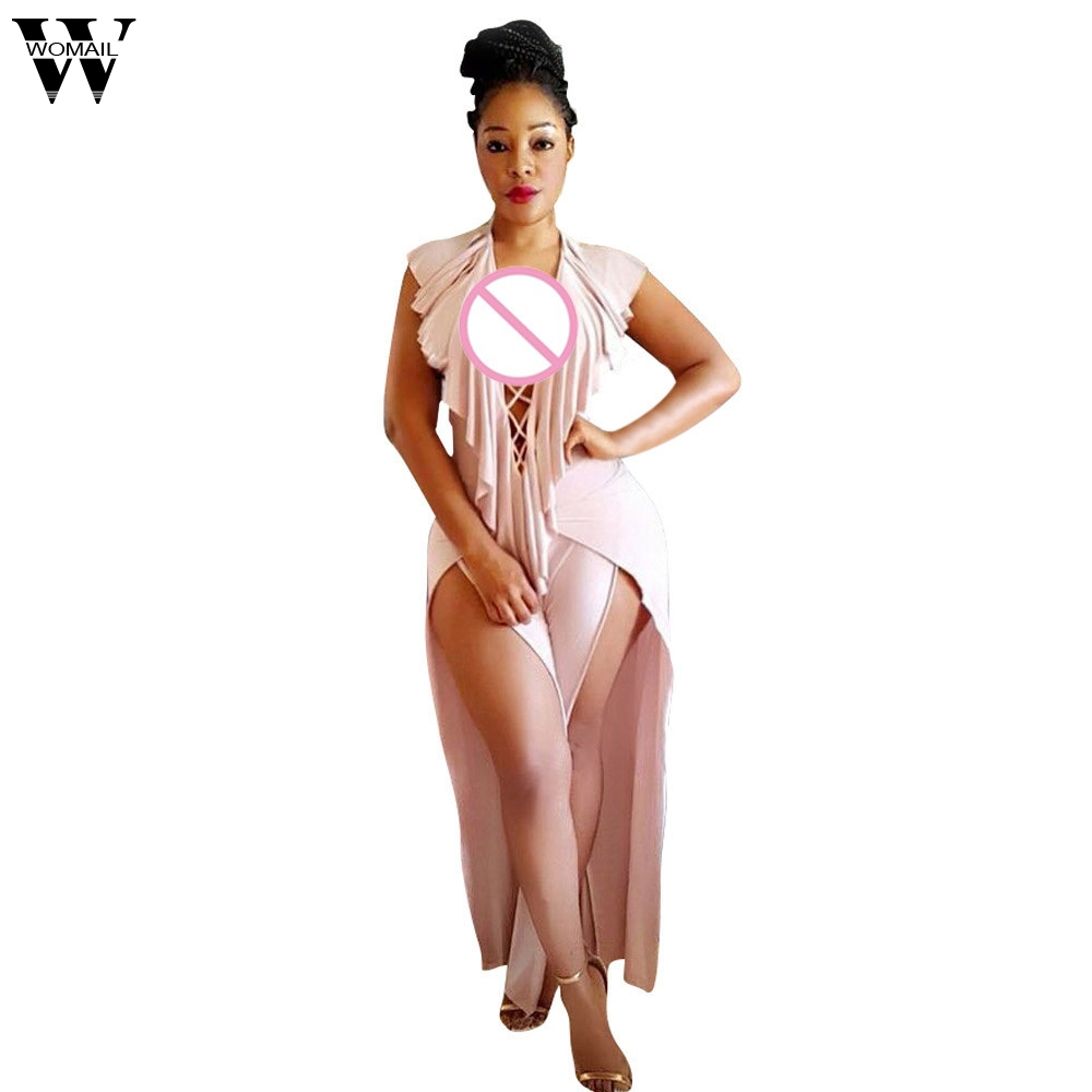 Womail bodysuit Women Summer Fashion Ruffle Playsuit Deep V Neck Jumpsuit Sleeveless Long Jumpsuit Casual NEW dropship M7