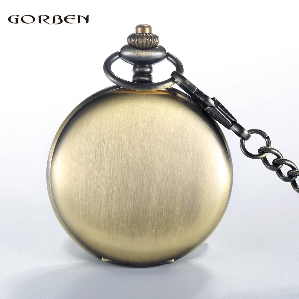 GORBEN Bronze Vintage Retro Women Men Quartz Polishing Pocket Watch Roman Numbers Display Necklace With Waist Chain Gift For Men