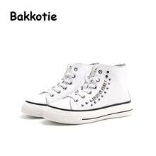 Bakkotie 2017 New Autumn Baby Boy Sport Shoe Genuine Leather Kid Leisure Sneaker Rivets Toddler Girl White Shoe High Top Child