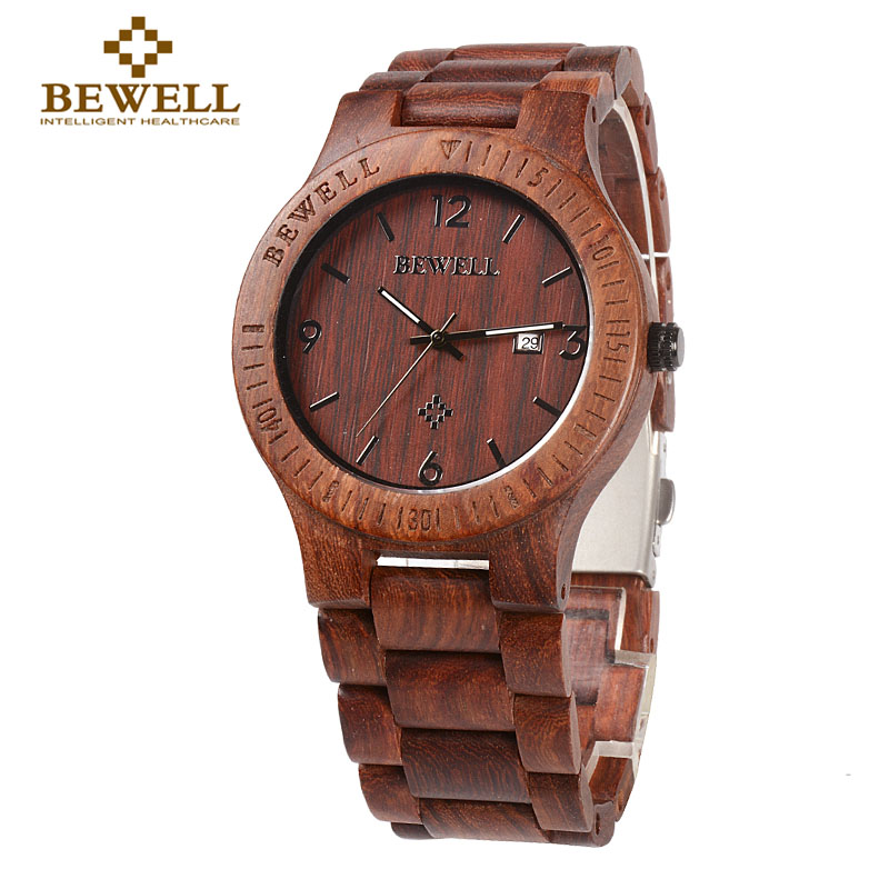 BEWELL 086B Simple Round Case light quality Date Function Mens Wooden Watch Analog Quartz Lightweight Handmade Wood Wrist Watch стоимость