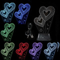 WSFS Hot USB 3D LED Table Lamp Night Light's room Night Light Christmas Gift NEW Double Hearts