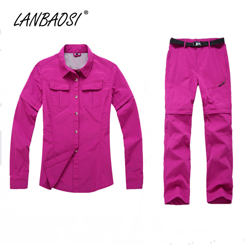 LANBAOSI Outdoor Sports Womens Quick Dry Hiking Shirt&Pant Set Tactical Zip Off Convertible Anti-UV Breathable Water Resistant