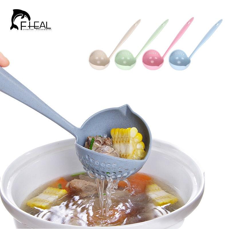 FHEAL 2 in 1 Creative kviešu salmu zupas karote garš rokturis skaists putras karotes ar filtru ēdamistabas virtuves mucas rīki
