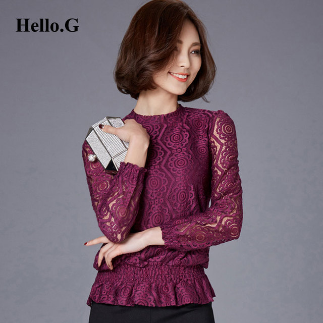 975e5656373 Big Size XXL Vintage Hollow Out Sexy Long Sleeve Crochet Lace Blouse Shirts  Women Tops Stand Collar Print Blusas 2016 Fashion