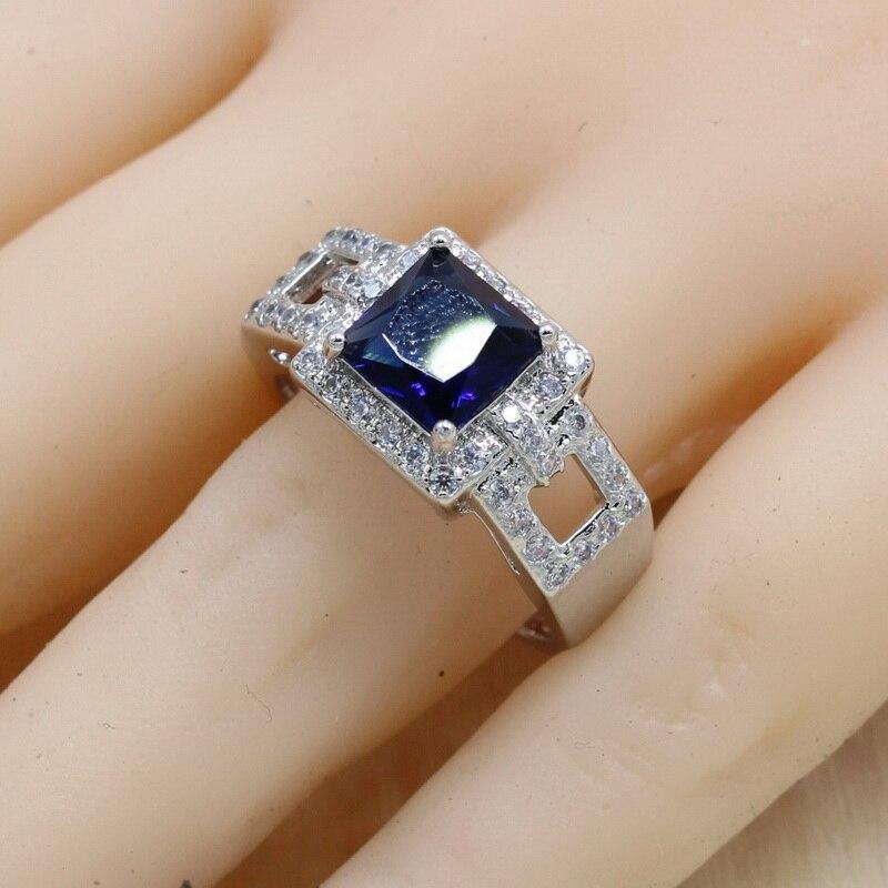 Rectangle Blue Cubic Zirconia  925 Sterling Silver Jewelry Sets For Women Earrings/Pendant/Necklace/Bracelet 2