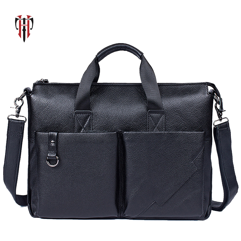 TIANHOO Fashion Litchi Pattern Briefcase Man Genuine Leather Bag 15 Inch Laptop Bag Soft Men Shoulder & Handlebag Simple Package