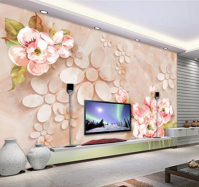 Custom 3D wallpaper, stone grain embossed flowers murals for the living room bedroom background wall waterproof papel de parede custom flowers wallpaper 3d hand painted flower murals for the living room bedroom tv background wall waterproof wallpaper