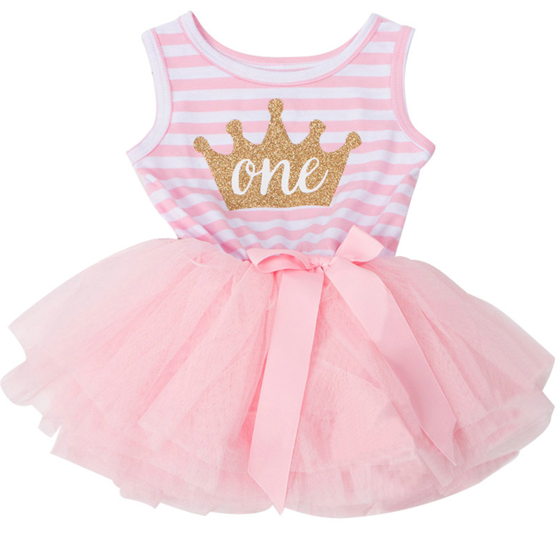 Gold One Newborn Little Baby Dress Clothes For Girl First -6536