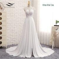 Sleeveless Chiffon Scoop Sweep Train Floor Length Zipper A Line Cap Sleeve Appliques Pleat Wedding Dress