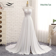 Sexy V-neck Chiffon Chapel Train Long Zipper Cap Sleeves Lace A Line Beach Wedding Dress Real Photo Wedding Gown 2017 SLD-W592