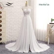 סקסי צווארון V קפלת רכבת ארוך רוכסן כובע שרוולי תחרה Applique קו חוף חתונה שמלת תמונה אמיתית חתונה שמלת SLD W592