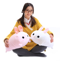 1Pc 50Cm White Pink Super Cute Plush Rabbit With Blanket Insider (100x160Cm) Round Head Bunny Pillow Creative Christmas Gift