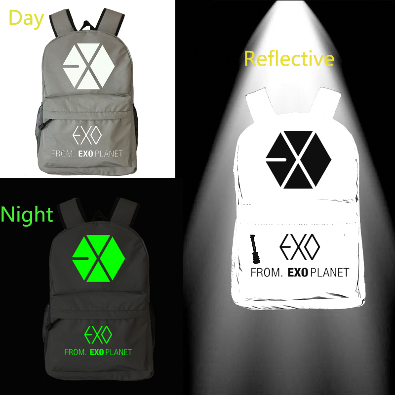 Able Kpop Exo Backpack Reflective School Bag Notebook Backpack Leisure Daily Backpack Noctilucous Bags Relieving Rheumatism Kids & Baby's Bags