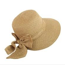 Sombrero de Sol de mujer 2018 sombrero de verano de ala ancha con lazo  grande para mujer sombrero de paja de playa Panamá visera. d1fd31480ad