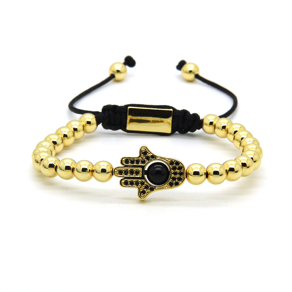 Ailatu Powerful Jewelry Wholesale Best Quality 6mm Brass Beads with Black Cz Fatima Hand Hamsa Macrame