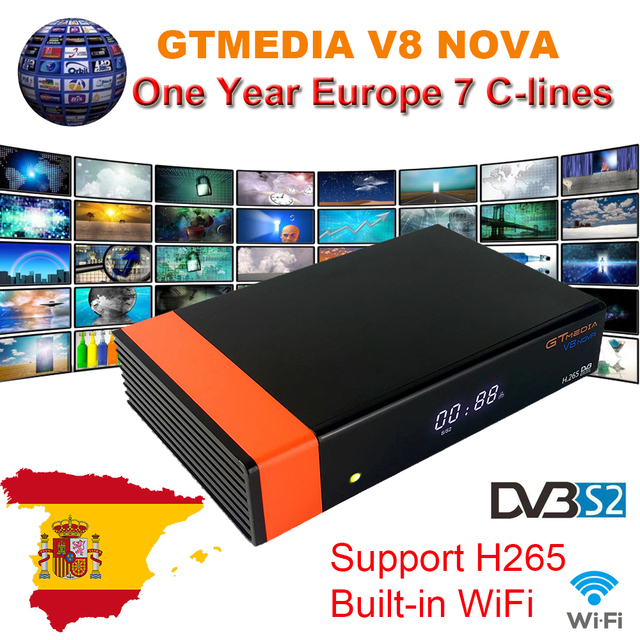 1 Year Europe Cline Genuine GTMedia V8 Nova Built-in WiFi DVB-S2 FTA Satellite Receiver Full HD Support Powervu Biss key Decoder