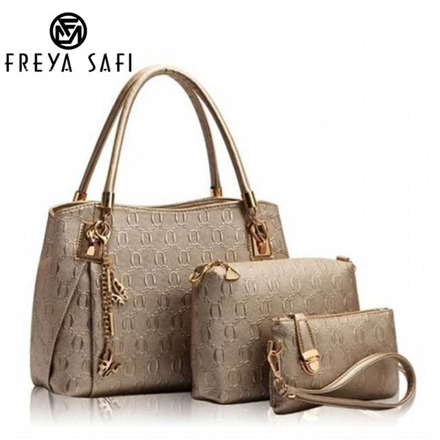 New 2016 Women Handbags Leather Handbag Women Messenger Bags Ladies Brand Designs Bag Bags Handbag Messenger Bag Purse 3 Sets