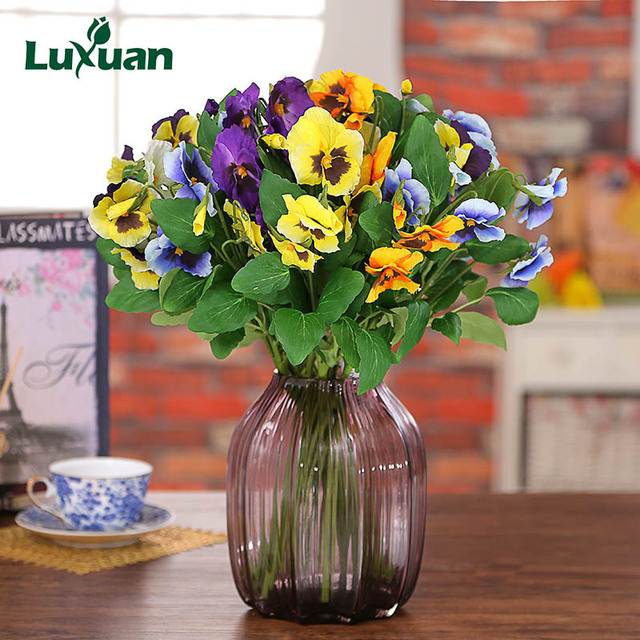 New popular pansy artificial flowers wedding decoration fake new popular pansy artificial flowers wedding decoration fake butterfly flower home table decoration plants flores 4031 junglespirit Images
