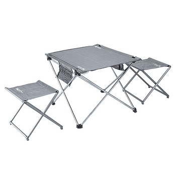 BRS Aluminum Alloy Folding Table Chairs Set Portable Outdoor Durable Light Folding Desk Camping Portable Tea 1 Table 2 Chairs