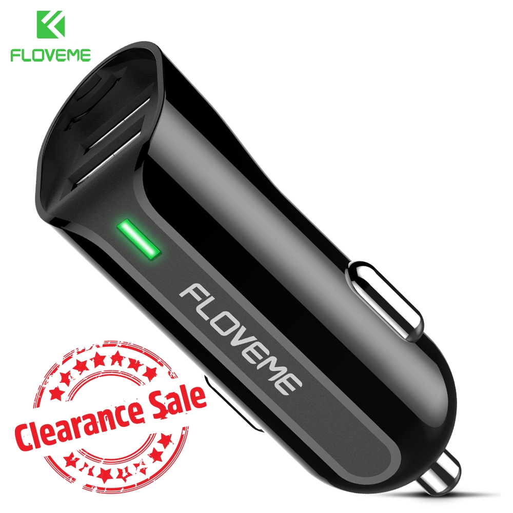 FLOVEME Car Charger For iPhone 7 8 Dual USB LED Car-charger Adapter 5V 2.4A Car Lighter Phone Chargers For Samsung For Xiaomi