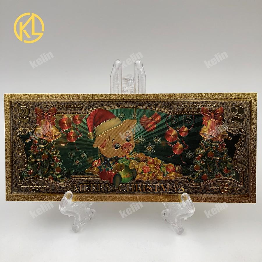 Золотая фольга деда мороза, цветные банкноты, 2 долл. США, Золотая Банкнота с сертификатом, позолоченный Рождественский подарок