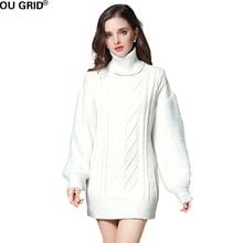 Зима-осень трикотажные Платья-свитеры Для женщин Элегантный длинным рукавом o-образным вырезом высокое качество теплый свитер Платья для женщин