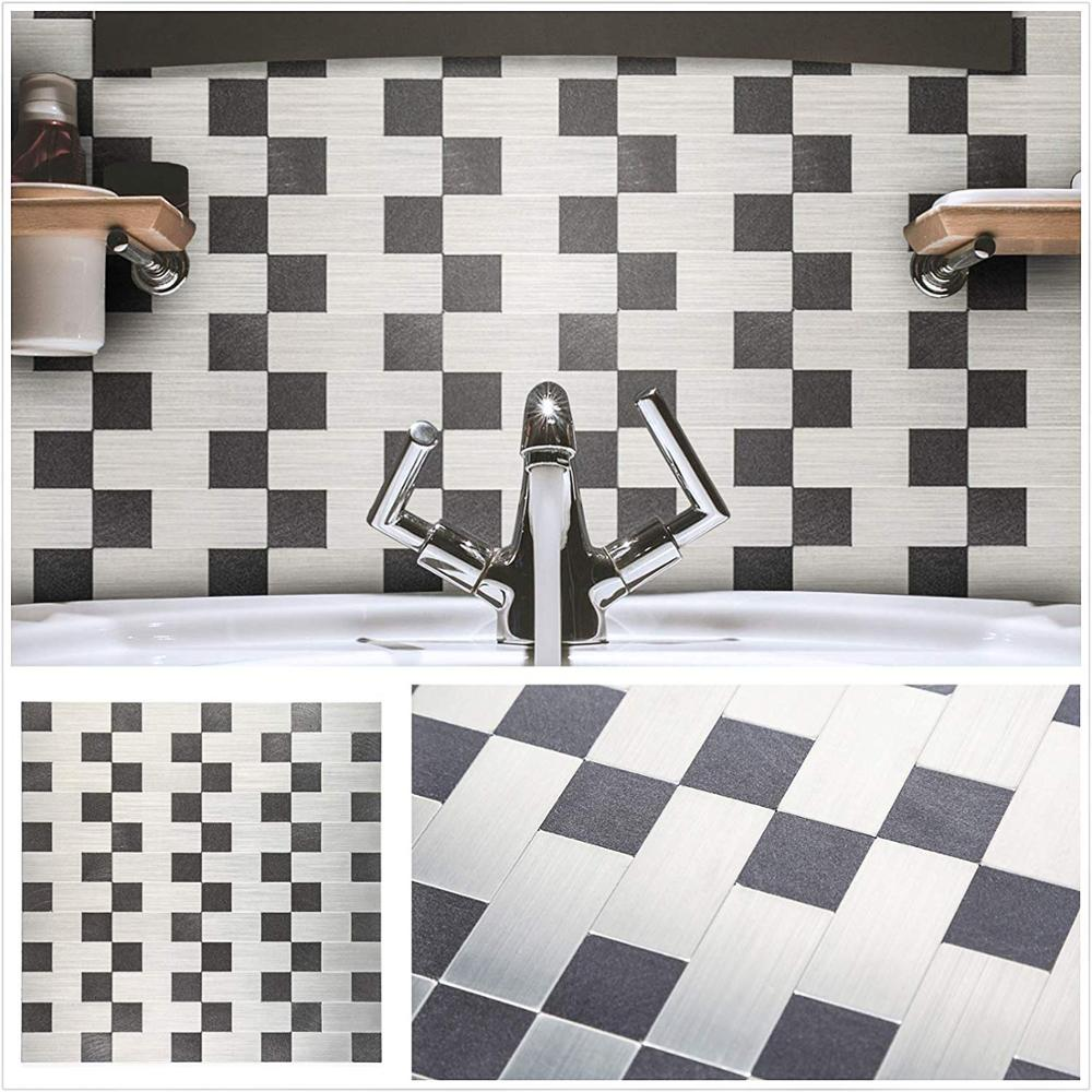 4 Sheets Silver and Black Self adhesive Wall Sticker 12 Inch Oilproof Nordic Subway Peel and Stick Mosaic for Kitchen Backsplash in Wall Stickers from Home Garden