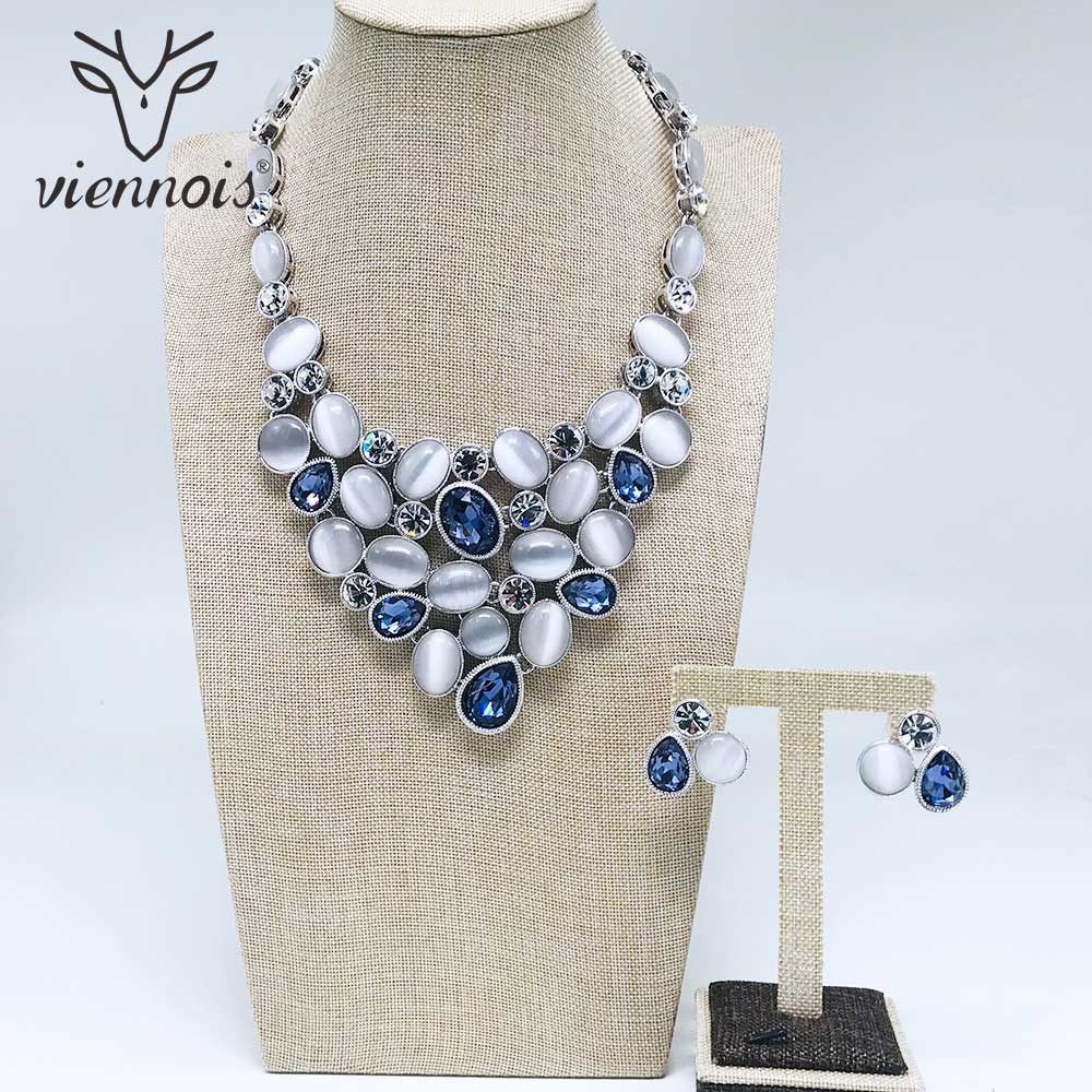 Viennois New Silver Color Stud Earrings Necklace Rhinestone Crystal Jewelry Set For Women Female Party Jewelry