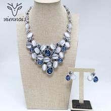 Viennois nova cor prata brincos do parafuso prisioneiro colar strass cristal conjunto de jóias para feminino festa conjuntos de jóias