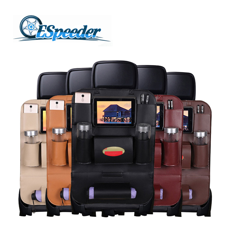 ESPEEDER Car Seat Storage Bag Back Seat Organizer Box Car Seat Back Storage Bag Pad Cups Storage Holder PU Leather Child Safety все цены