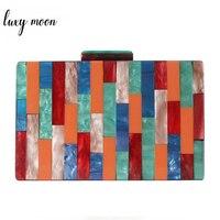 Fashion Acrylic Bag Luxury Handbags Women Bag Designer Colorful Geometric Patchwork Party Handbag Wedding Clutch Purse