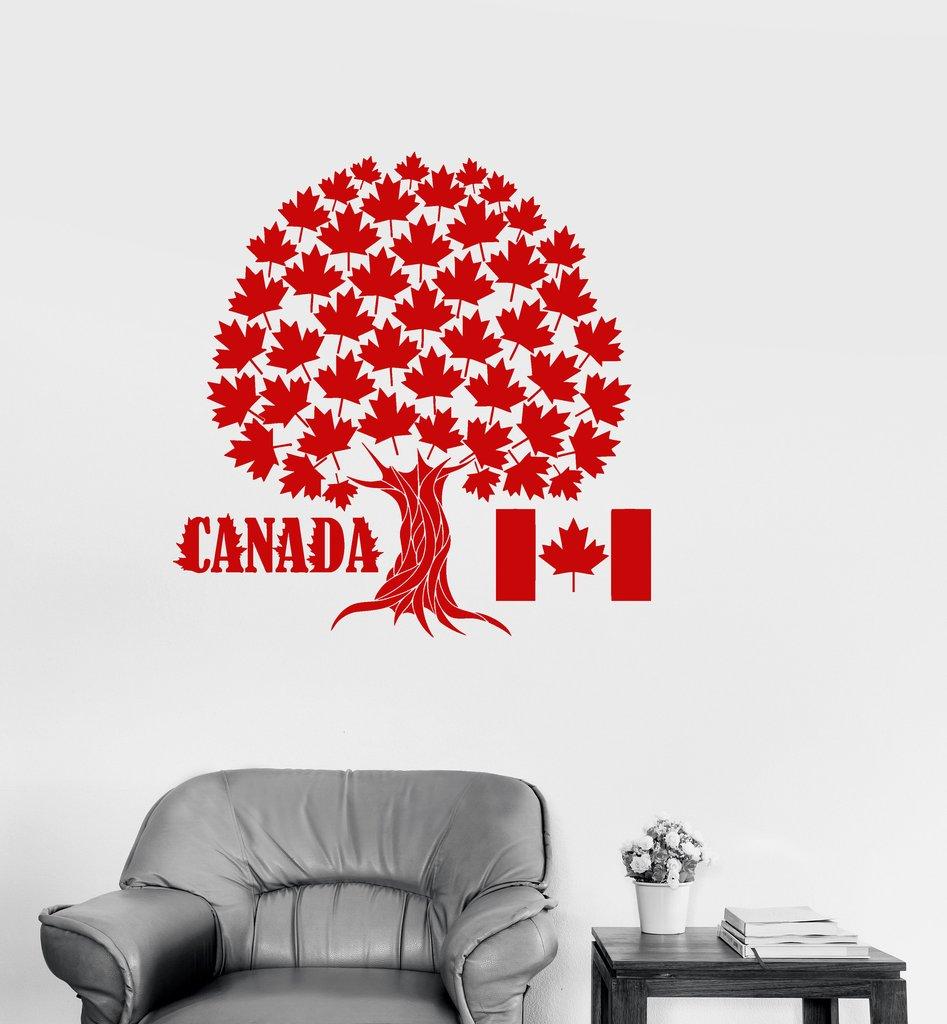 Canada Maple Tree Symbol Wall Stickers Vinyl Wall Decal