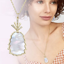 2019 new pineapple pendant necklace ladies fashion chic jewelry natural pearl shell gilding copper