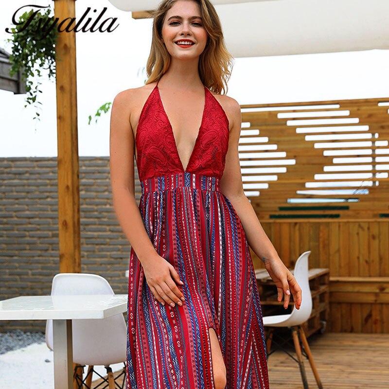 Backless Beach Wedding Dresses V Neck Flowing Vintage Boho: Maxi Beach Dress Summer Women 2018 Long Boho Dresses With